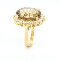 Nieuw 18k geel goud ring Rookkwarts/briljant