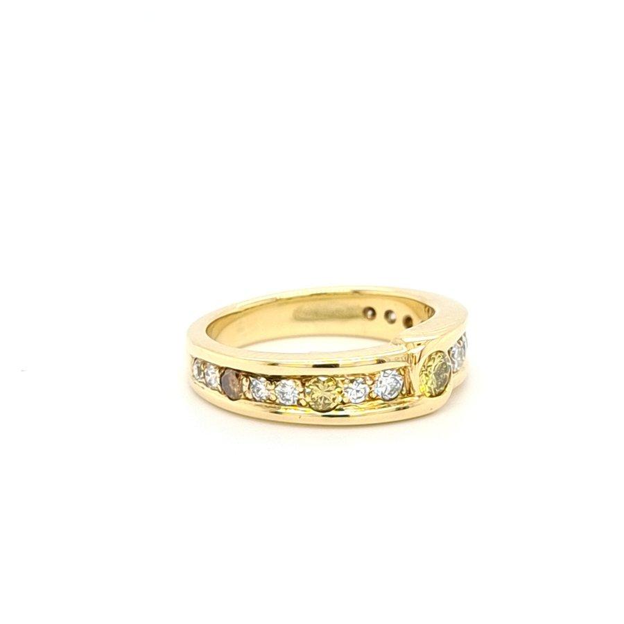 Occasion 18 karaat geel gouden ring fancy/wit briljanten