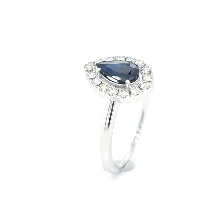 18k witgouden ring met echte Saffier en Briljant
