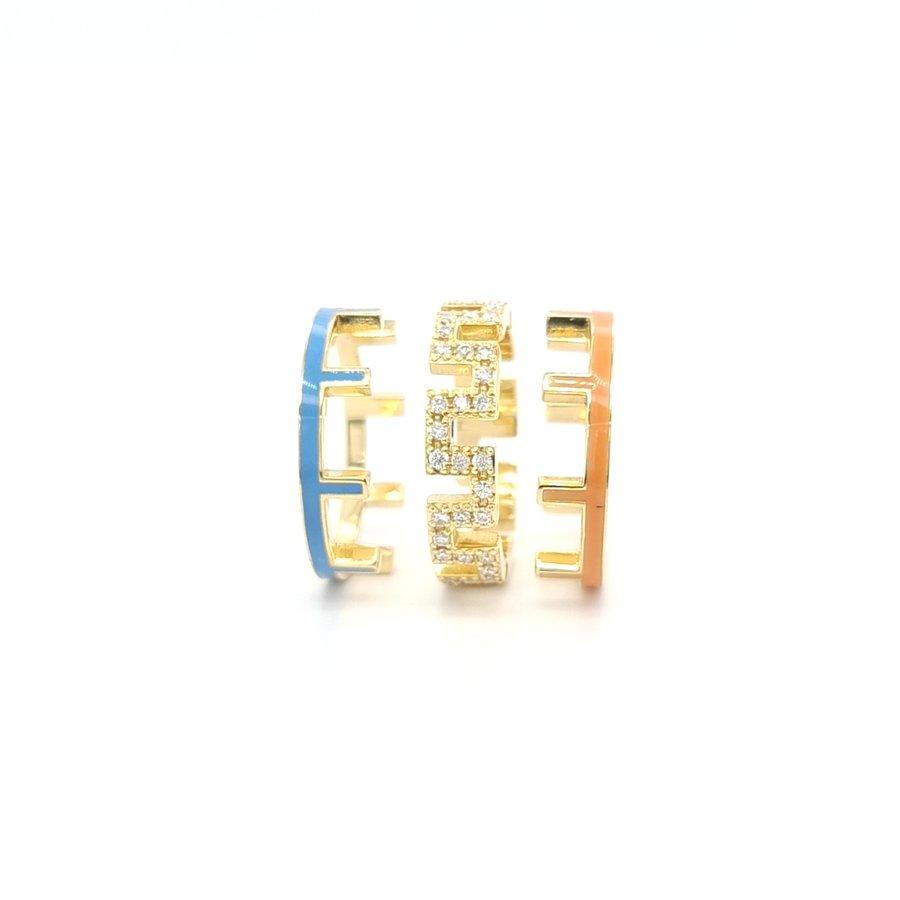 18 Karaat geel gouden ring 11.9 gram  0.73 briljanten