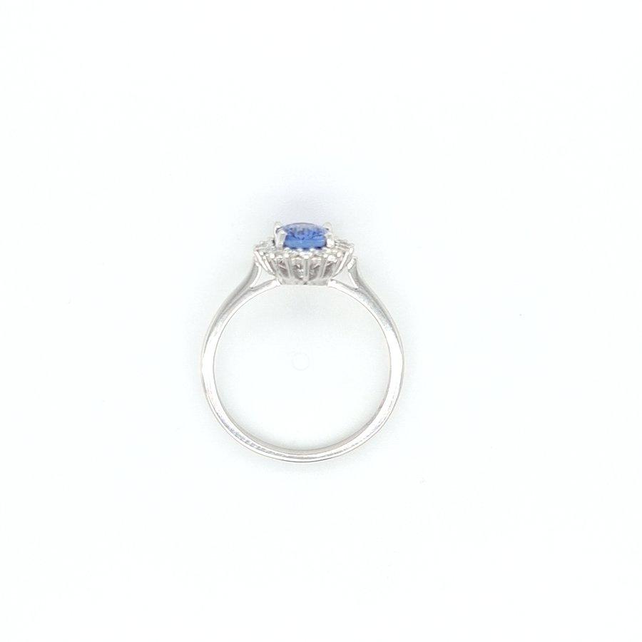 18 Karaat wit gouden ring met natuurlijk tanzaniet/ briljanten