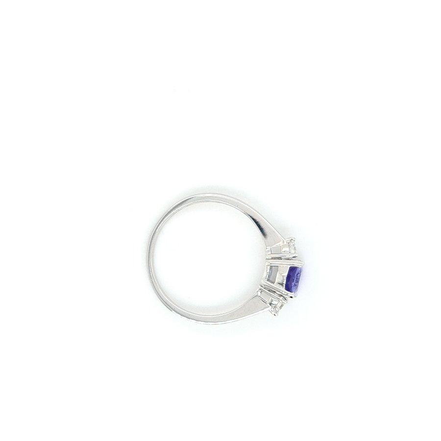 18 Karaat wit gouden ring tanzaniet/ briljant
