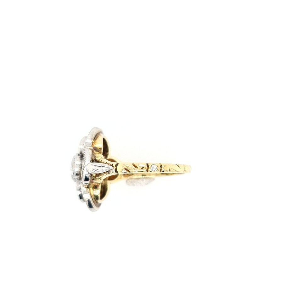 Occasion 14 karaat geel goud / zilver ring