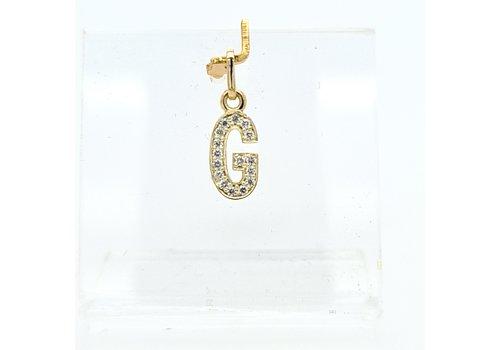New 14 karaat geel gouden G  letter hanger met 0.16 krt briljanten 1.3 cm totaal lengte, gewicht 0.65 gram