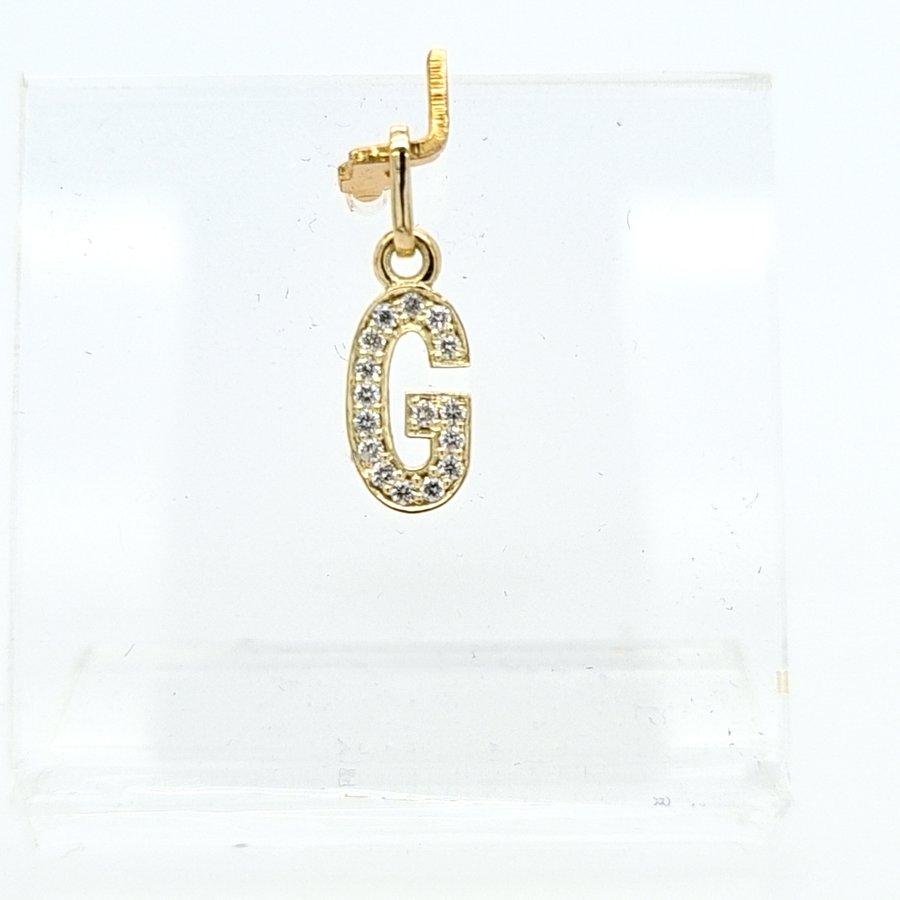 New 14 karaat geel gouden G  letter hanger met 0.16 krt briljanten 1.16 cm totaal lengte, gewicht 0.65 gram