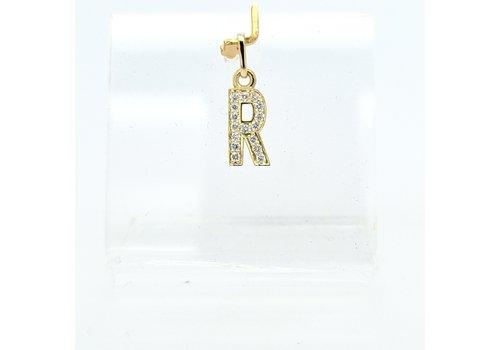 New 14 karaat geel gouden R  letter hanger met 0.16 krt briljanten 1.3 cm totaal lengte, gewicht 0.67 gram