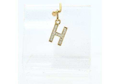 New 14 karaat geel gouden H letter hanger met 0.16 krt briljanten 1.3 cm totaal lengte, gewicht 0.67 gram