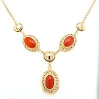 Occasion 14 karaat geel gouden collier met echte Bloedkoraal 11 gram