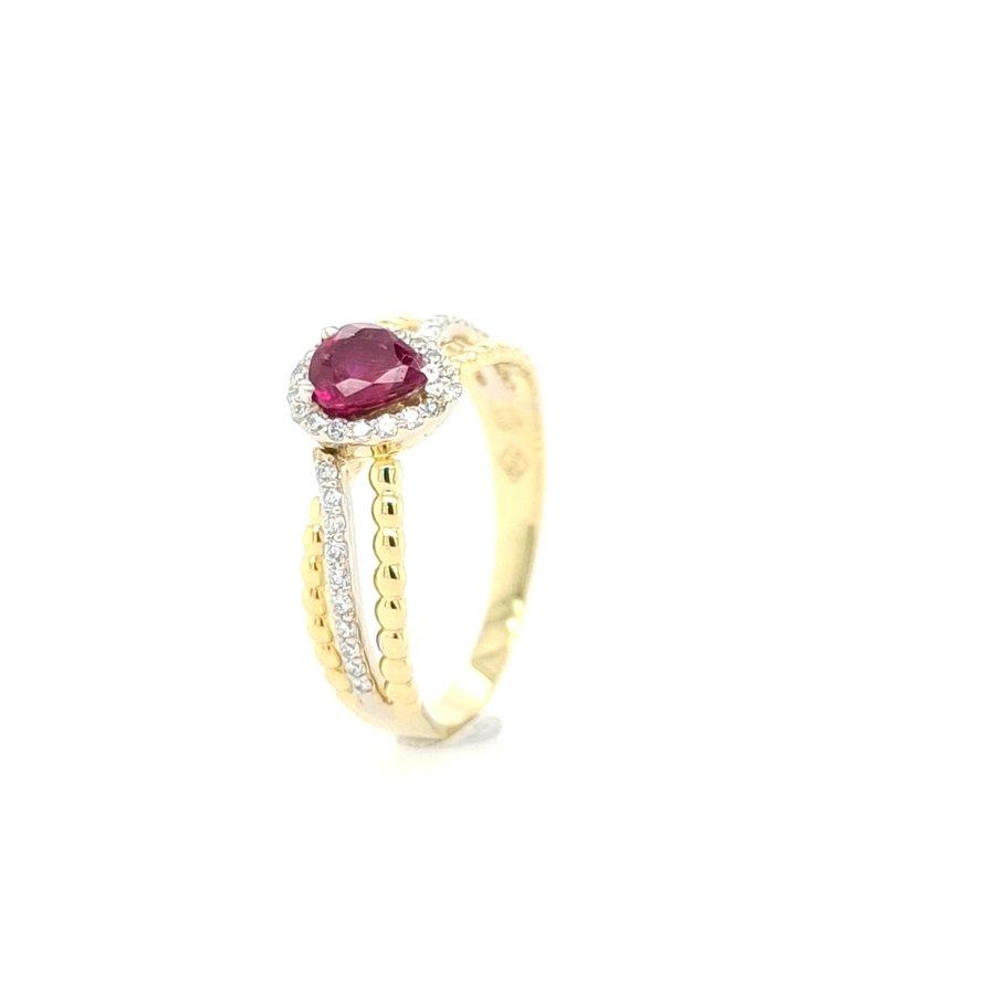 18 Karaat geel gouden ring robijn/ briljanten
