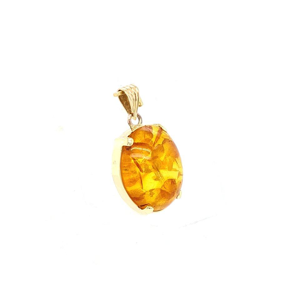 Occasion 14 karaat geel gouden hanger met Barnsteen 1.9 gram