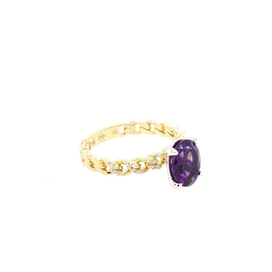 18 Karaat geel gouden ring Amathist/ briljanten