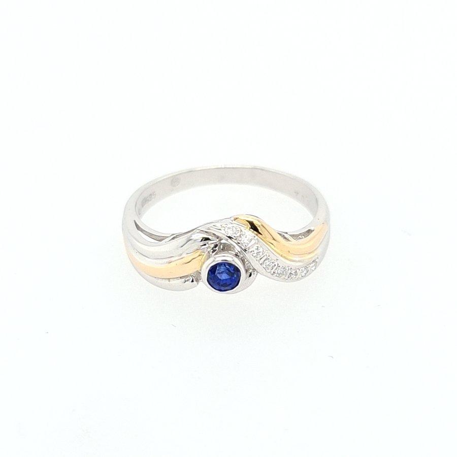 14 Karaat wit gouden ring saffier/ briljanten