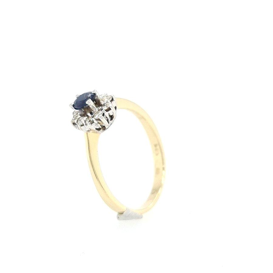 14 Karaat geel gouden ring briljanten /saffier