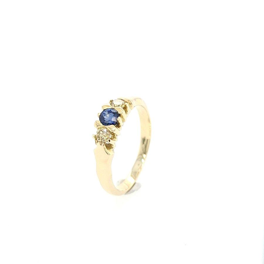 14 Karaat geel gouden ring briljanten/ saffier
