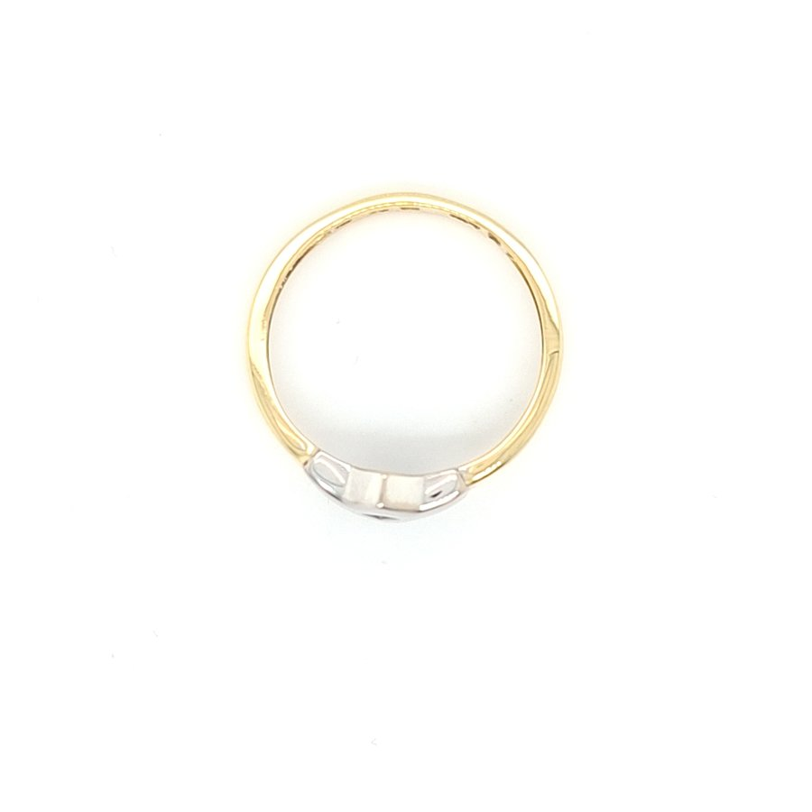 14 Karaat geel gouden ring met 0.04 krt biljant maat 18,5