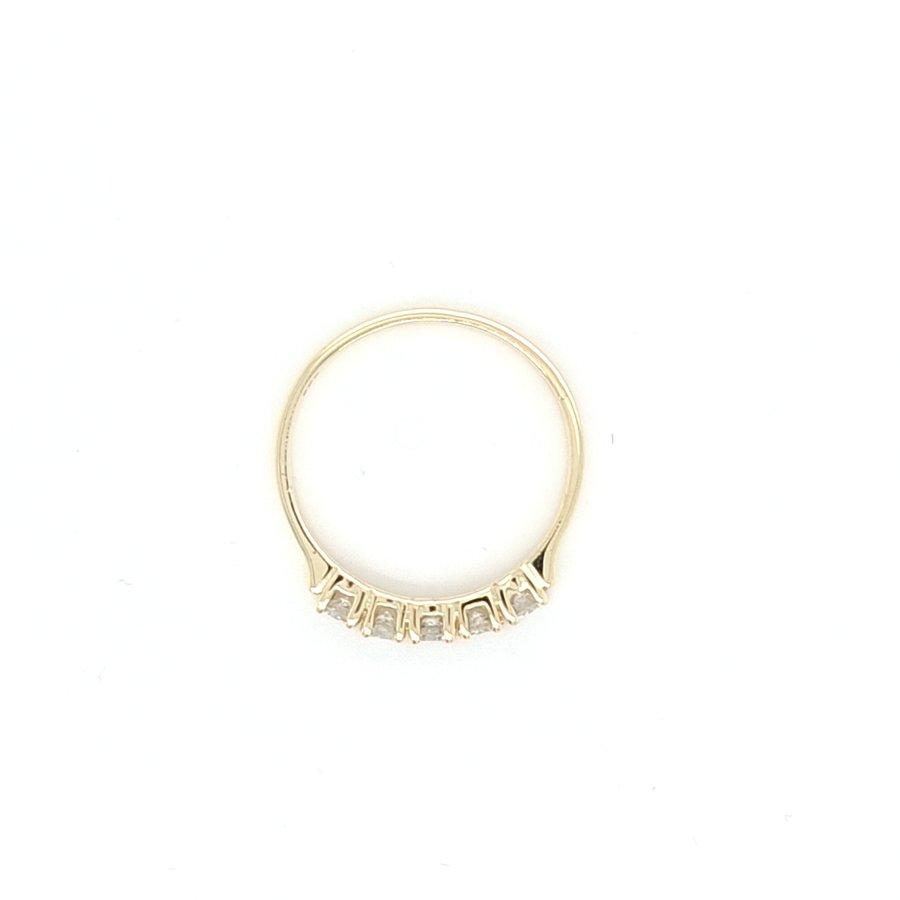 14 Karaat geel gouden ring met 0.35 krt briljanten 1.6 gram maat 17