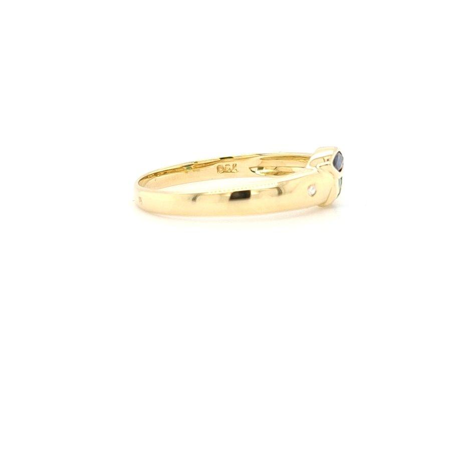 18 Karaat geel gouden ring met 0.01 krt briljant saffier smaragd 1.8 gram  maat 17.5