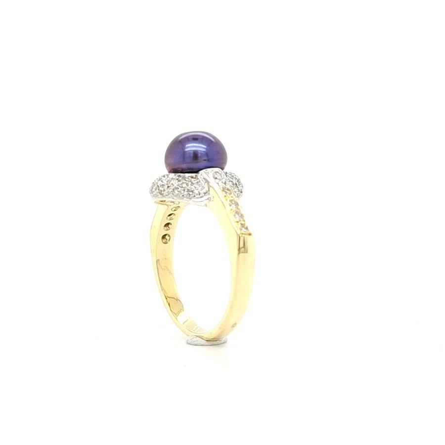 14 Karaat geel gouden ring parel/ briljant
