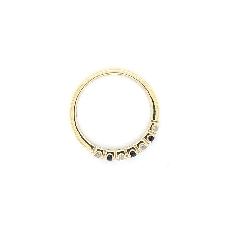 14 Karaat geel gouden ring briljant/ saffier
