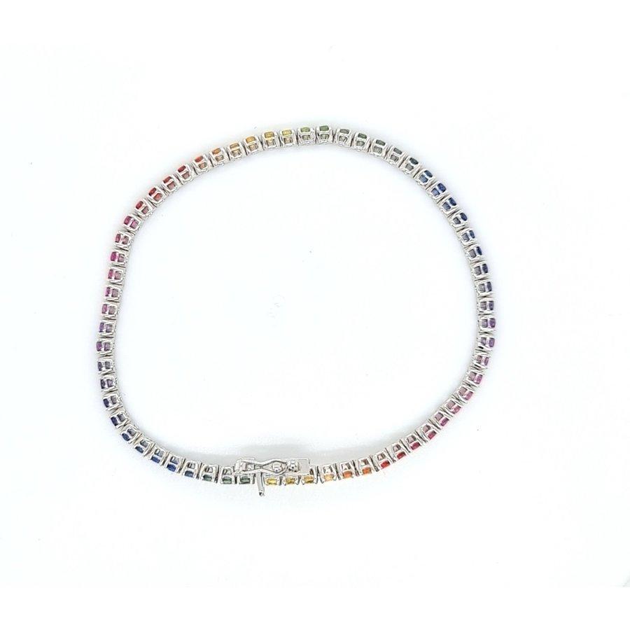 18 Karaat wit gouden armband met gekleurde saffier  9 gram
