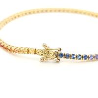 18 Karaat geel gouden armband met saffier in regenboog kleur 9.5 gram