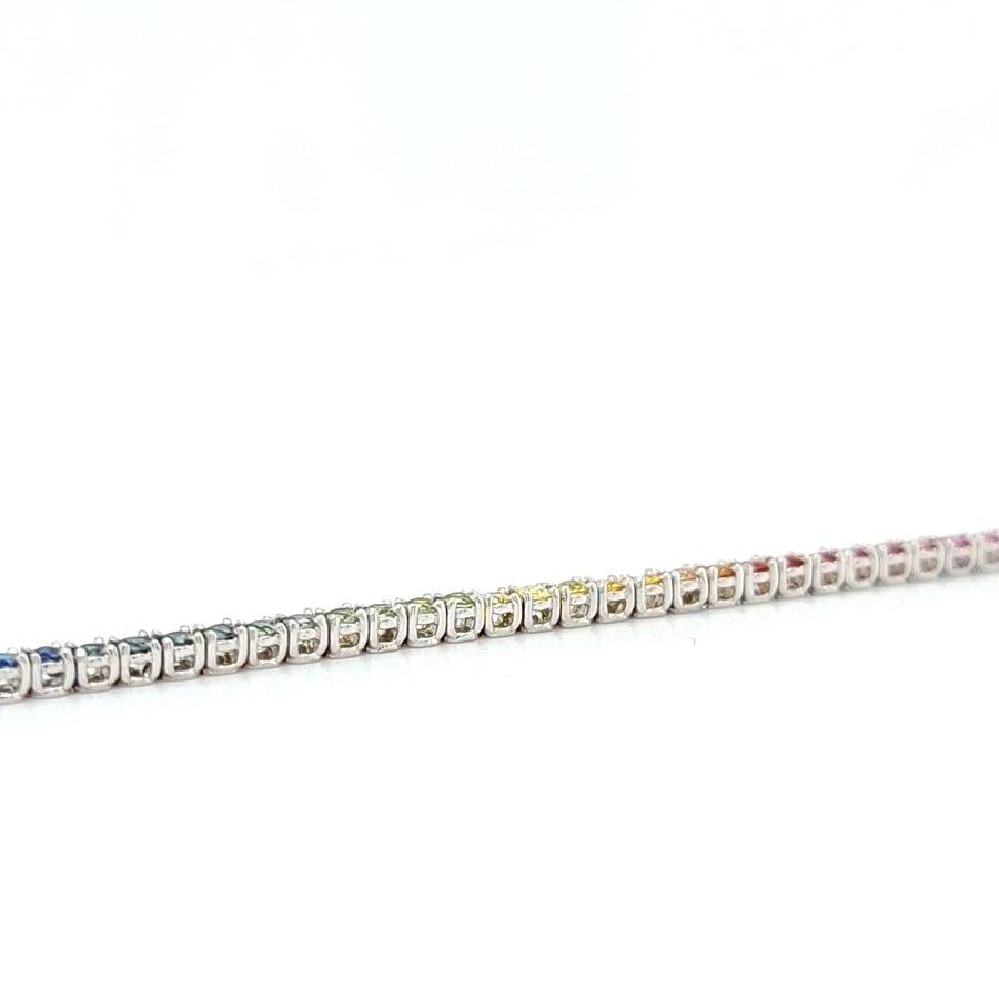 18 Karaat wit gouden armband natuurlijk saffier 5.2 gram 18 cm