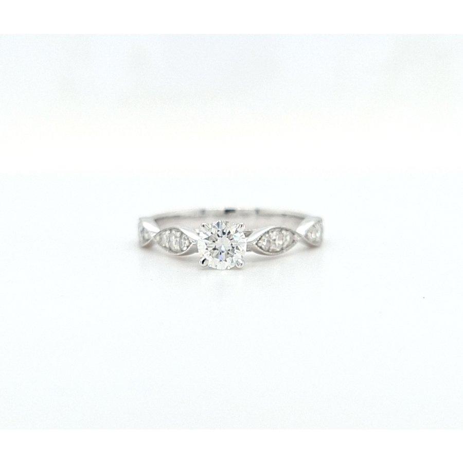 18 karaat wit gouden ring met Briljant en Diamant