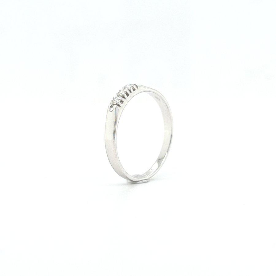 Occasion 14 karaat wit gouden ring met briljanten