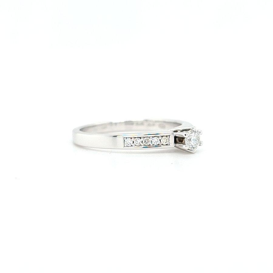 Occasion 14 karaat wit gouden ring briljanten 2.9 gram