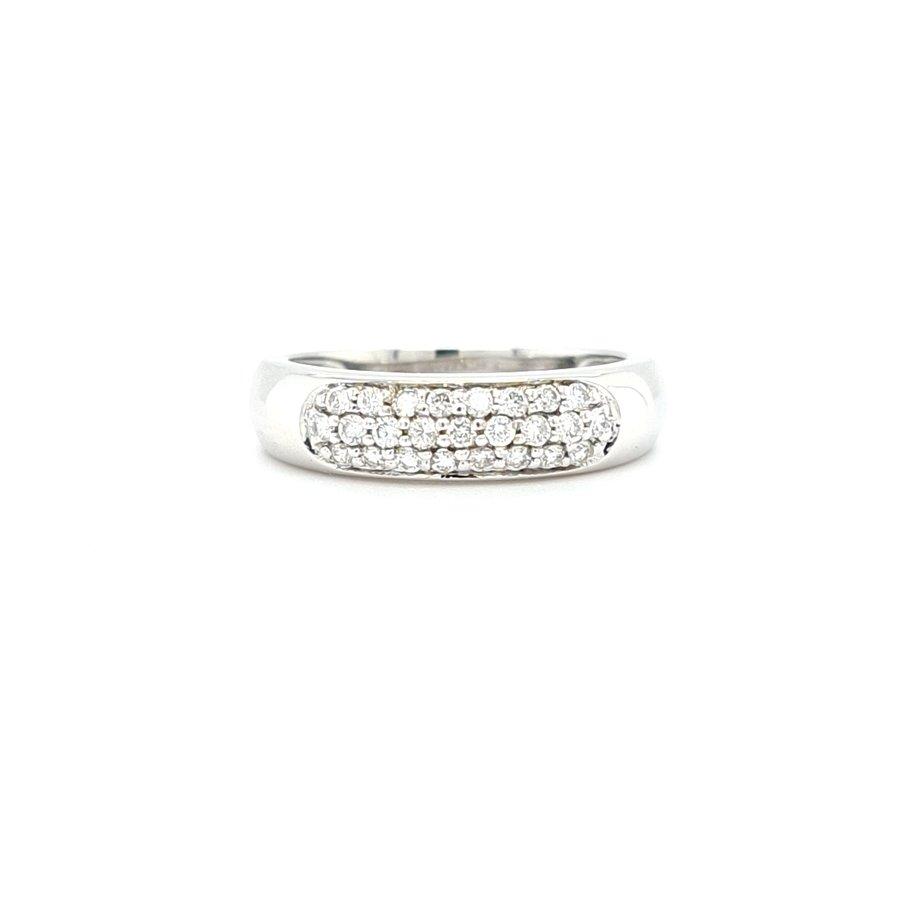 Occasion 14 karaat wit gouden ring briljant 3.8 gram