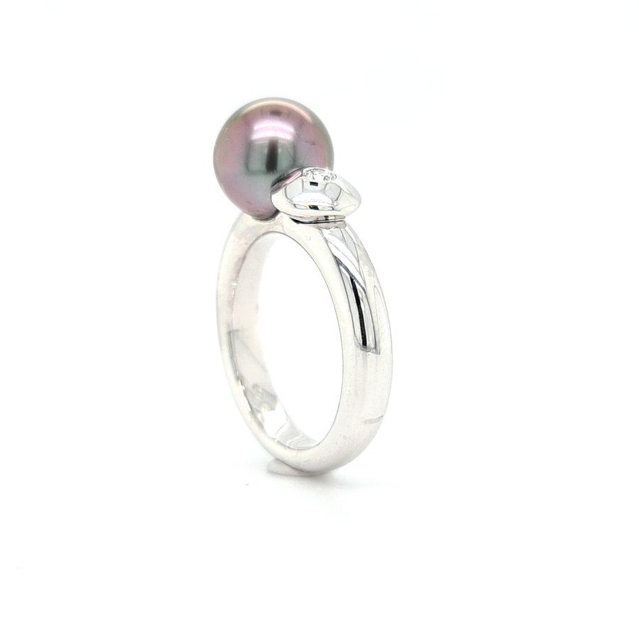 18k wit gouden ring gezet met briljant en cultivé parel