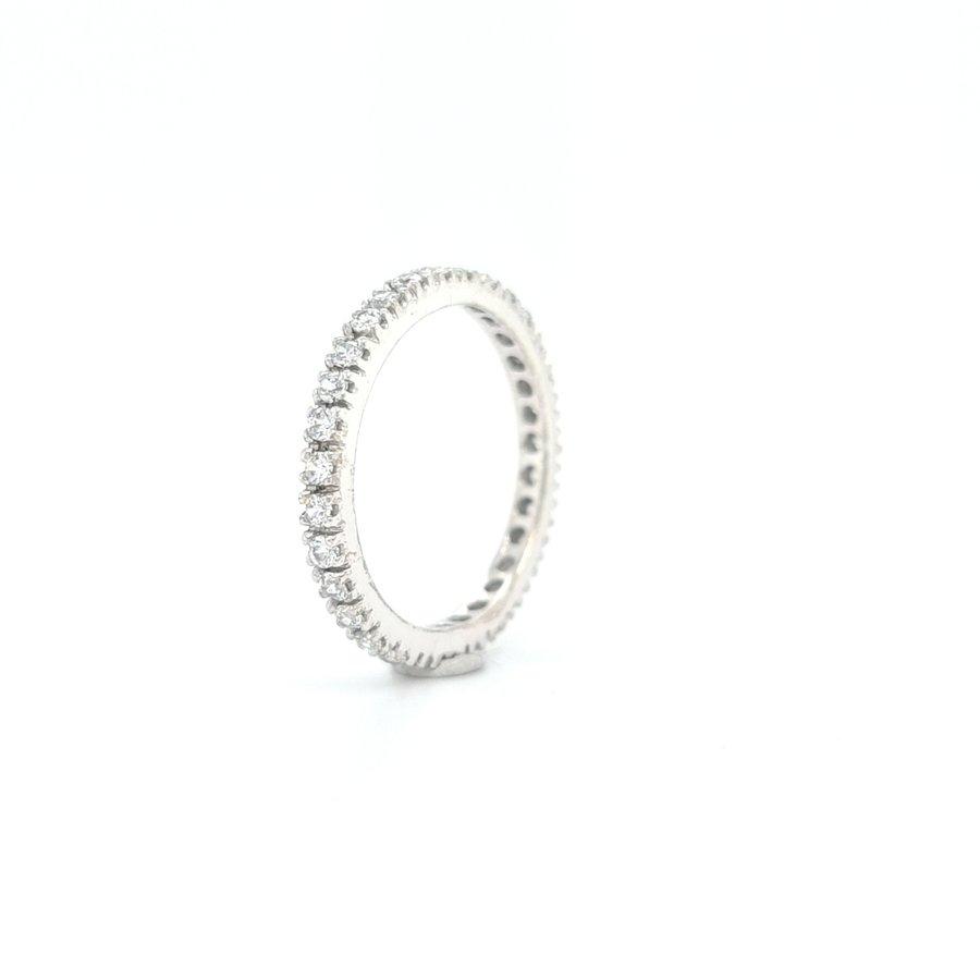 14 Karaat allianse  wit gouden ring met zirkonia 2.4 gram