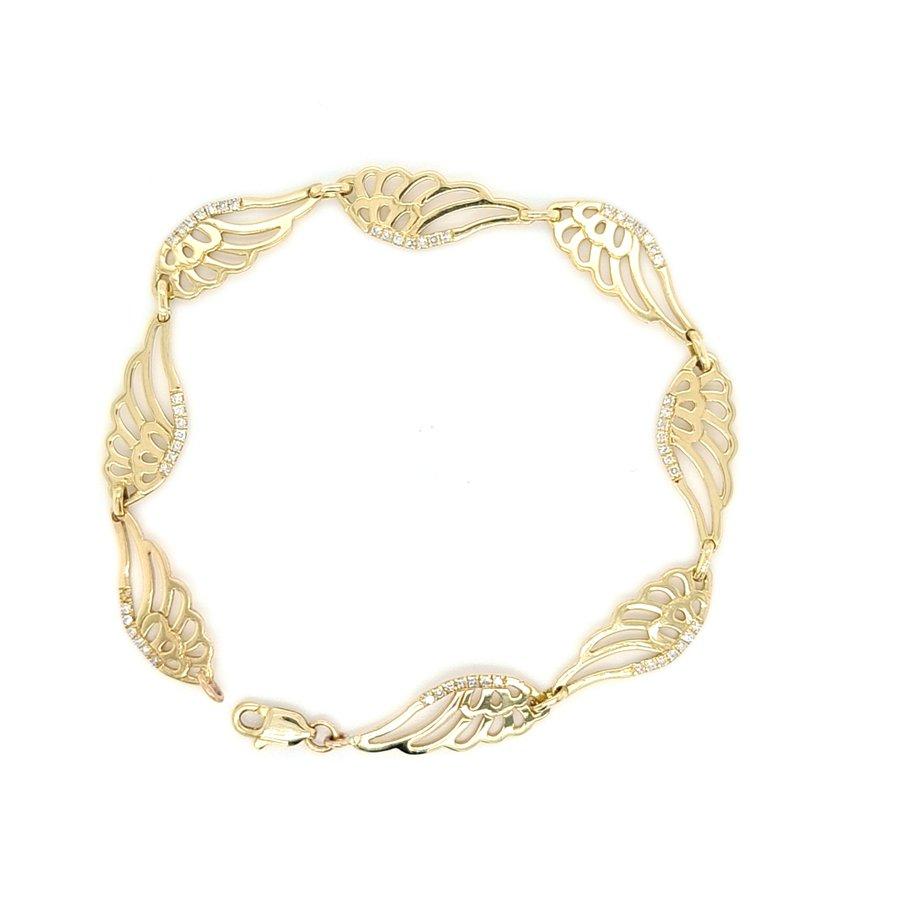 14 Karaat geel gouden armband met 0.24 krt briljanten 5.6 gram 17cm