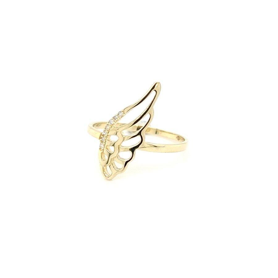 14 Karaat geel gouden ring met 0.03 krt briljanten 1.5 gram maat 17