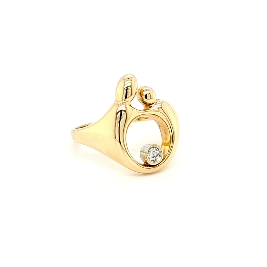 14 Karaat Mamour ring 0.04 crt briljanten 5.3 gram 18