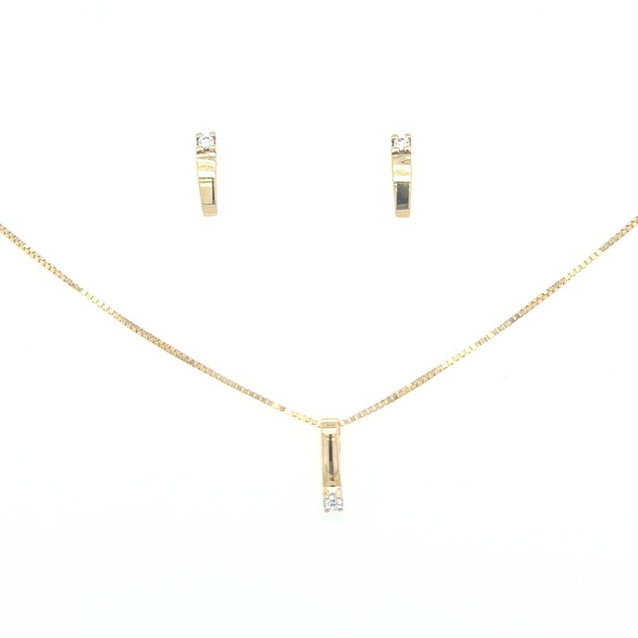 14 Karaat geel gouden set 0.09 crt briljanten 13.8 gam 45 cm