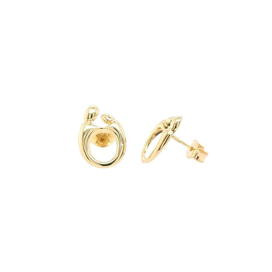 14 Karaat geel gouden Mamour oorknoppen 1.7 gram
