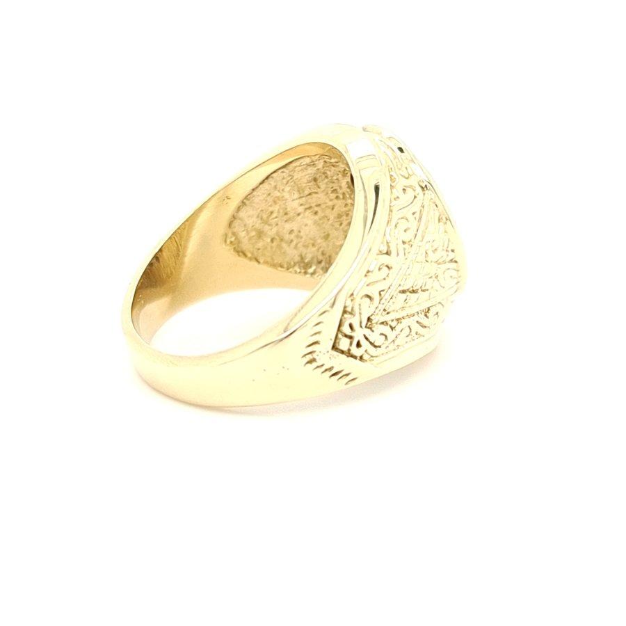 14 Karaat geel gouden ring natuurlijke blauwe saffier