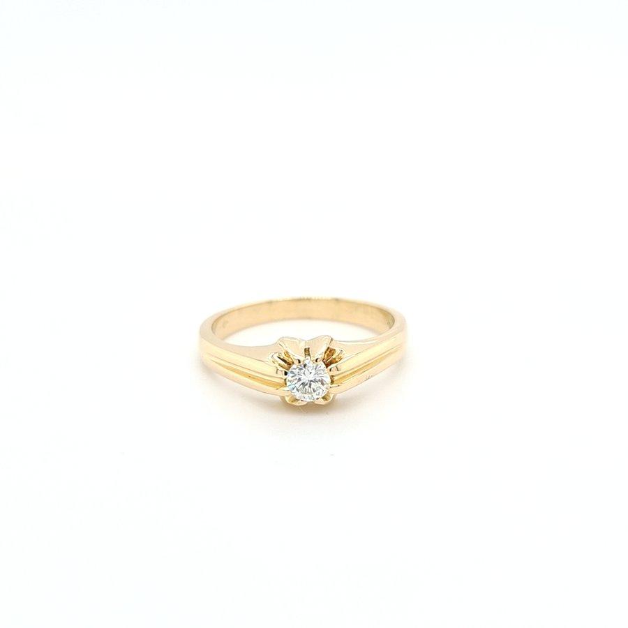 14 Karaat geel gouden tiffany ringbriljant/5.1 gram