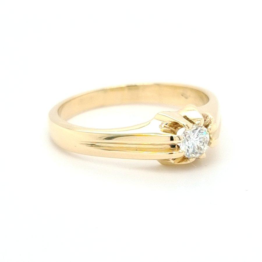 14 Karaat geel gouden tiffany ring briljant/5.1 gram