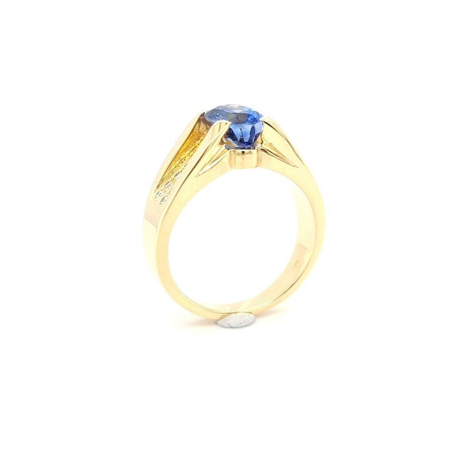 18 Karaat geel gouden ring briljant/ saffier