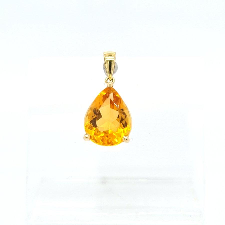 Nieuw 18 Karaat geel gouden hanger Citrien  1.8 gram