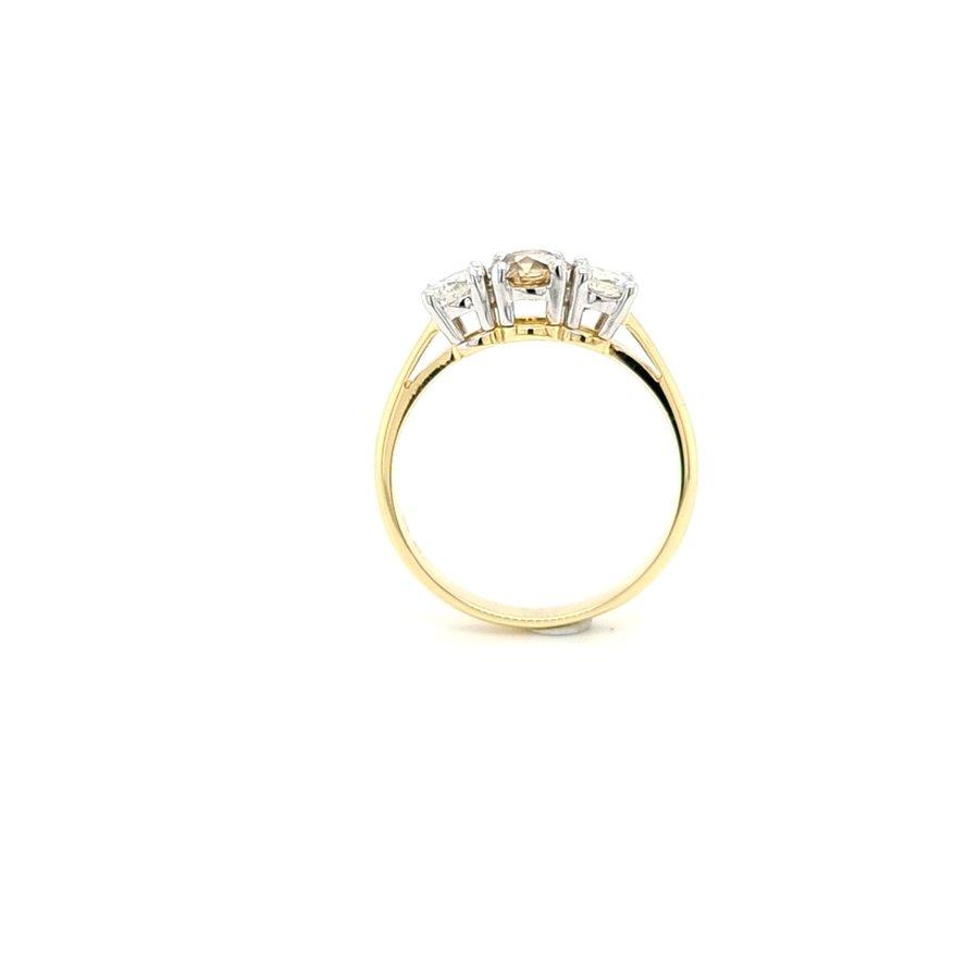 Occasion  18 karaat geel gouden ring champagne briljant 3.6 gram