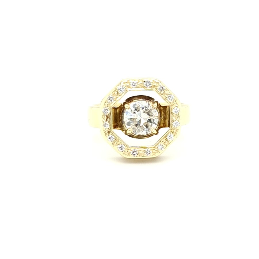 Occasion 14 karaat geel gouden ring briljant 6.5 gram