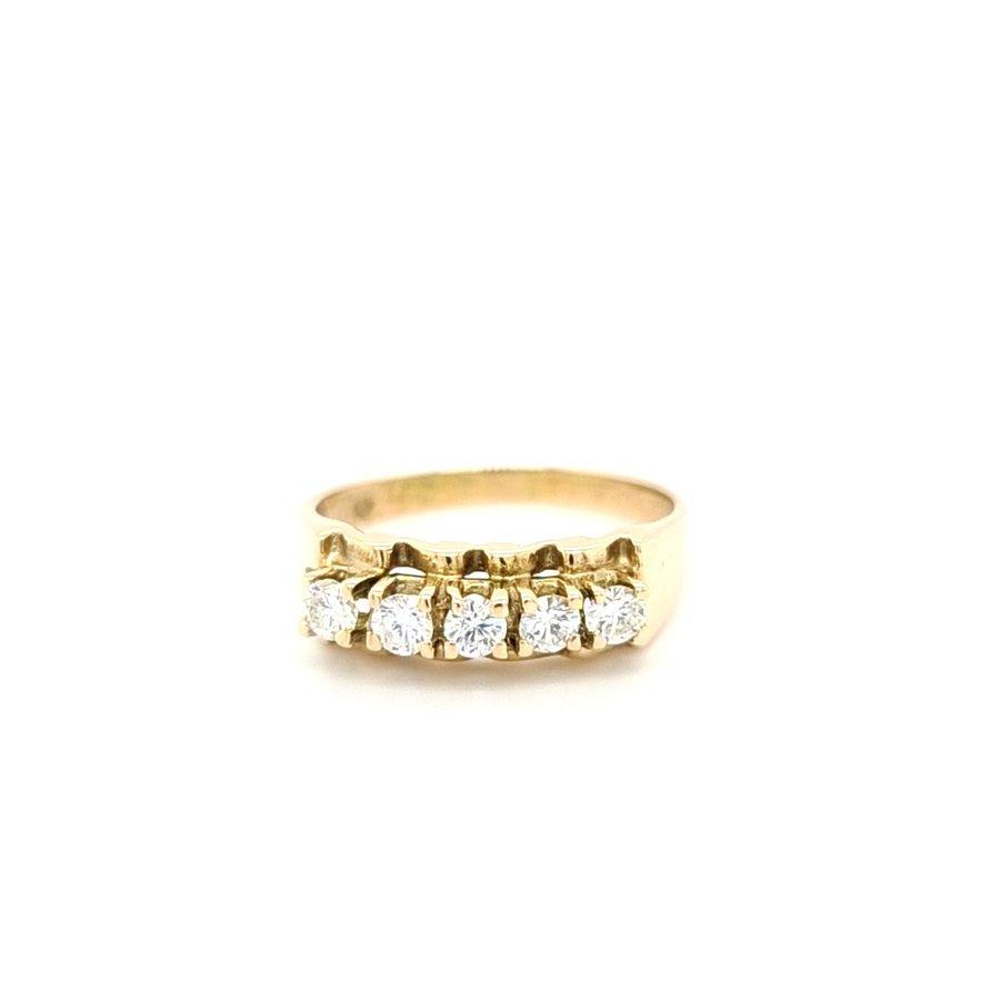 Occasion 14 karaat geel gouden ring briljant 3.4 gram