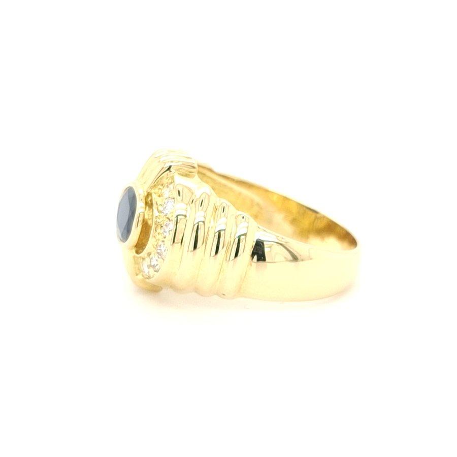Occasion 18karaat geel gouden ring briljant/ natuurlijke saffier