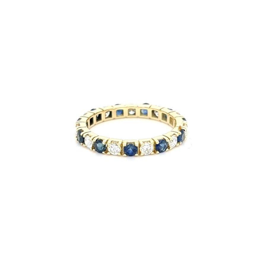 Nieuw 14 karaat geel gouden ring briljant/ echt saffier