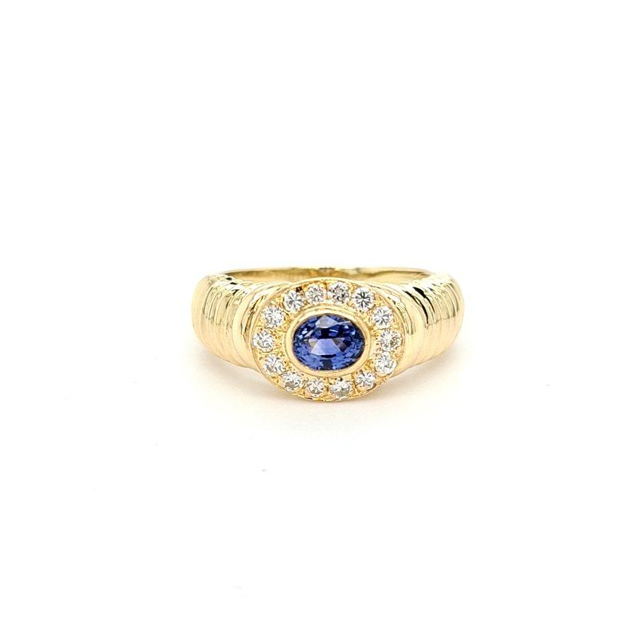 Occasion 14 karaat geel gouden ring briljant/ saffier