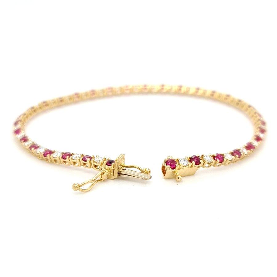 Nieuw 18 karaat geel gouden tennis armband/ briljant