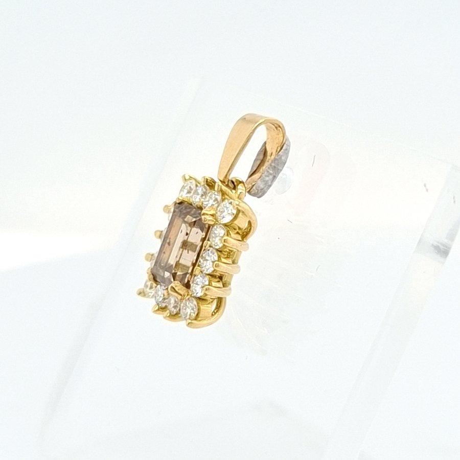 18 Karaat geel gouden hanger met baguette geslepen champagne kleur 0.65 krt 1.4 gram